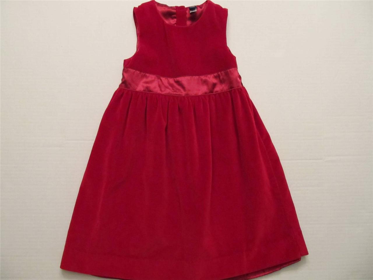 Gap toddler girl size 5 years red velvet holiday jumper dress classic