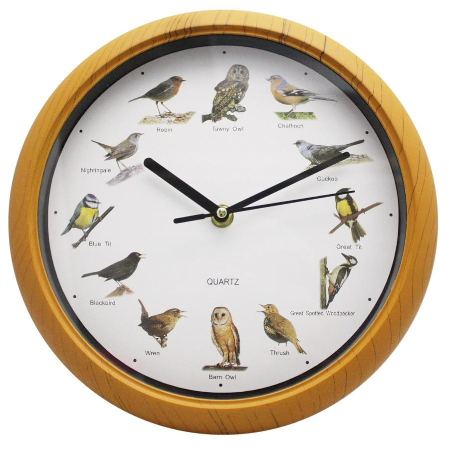 Singing birds wall clock 12 bird sounds every hour sleep mode battery operated ebay - Cuckoo bird clock sound ...
