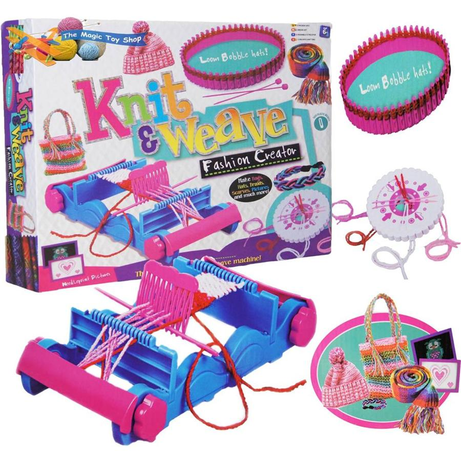Loom Knitting For Kids : Childrens knit weave craft set weaving loom braiding