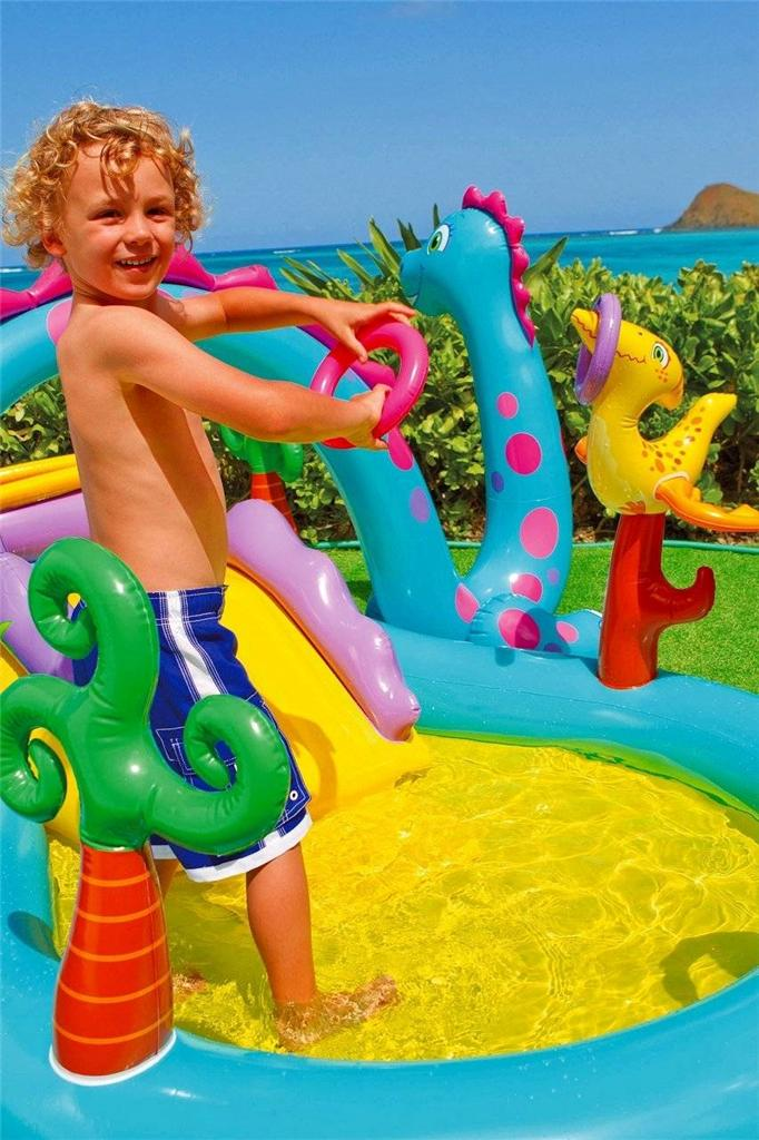 Intex inflatable family outdoor swimming paddling pool for Intex pool koi pond