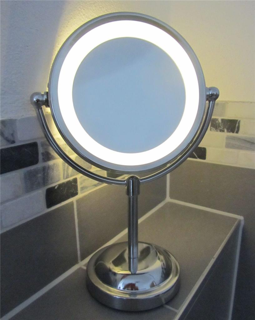 5 x magnifying round led illuminated bathroom make up for Shaving mirror