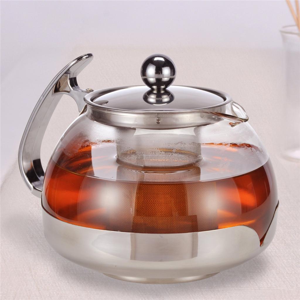 large 1 2 ltr glass infusion teapot tea pot infuser contemporary kitchen design ebay. Black Bedroom Furniture Sets. Home Design Ideas
