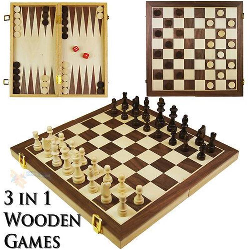 3 in 1 Wooden Board Game Set Compendium Travel Games Chess ...