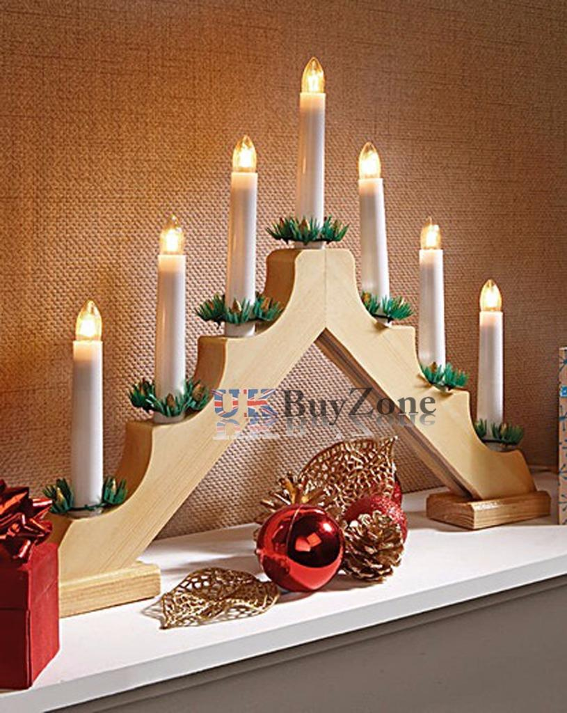 Wooden pre lit candle bridge arch window christmas tree for Arch window decoration
