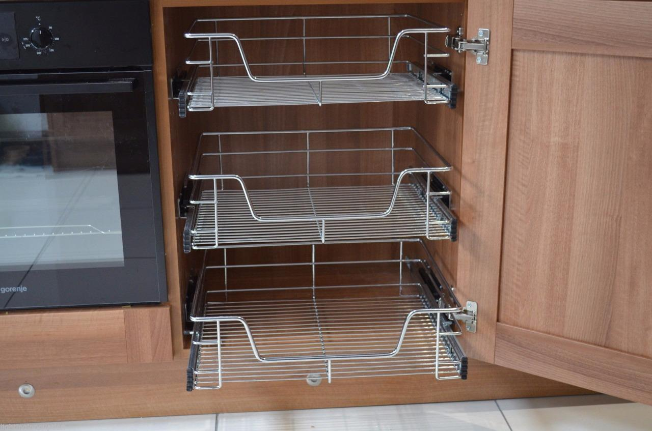 Kitchen cabinet cupboard pull out wire storage basket for Kitchen cabinets 500mm