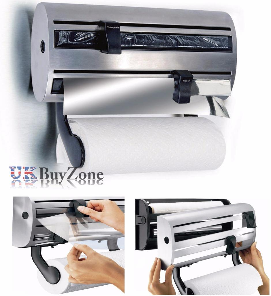 3 In 1 Kitchen Roll Holder Cling Film Tin Foil Towel Wall