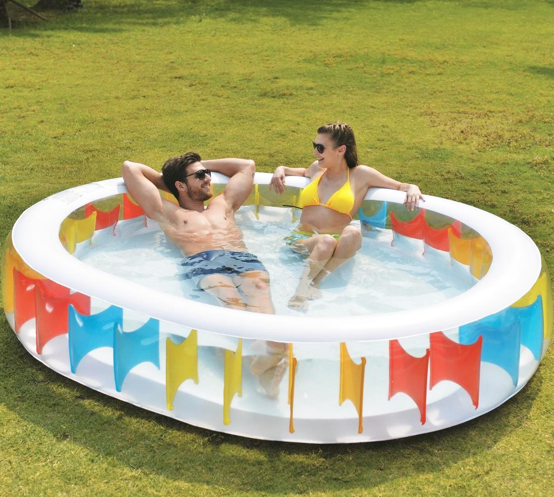 Large oval inflatable kids family swimming paddling garden for Family garden pool