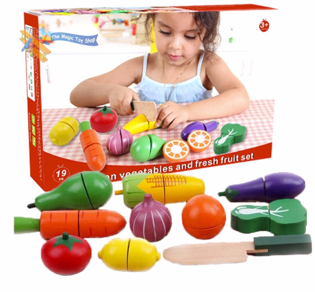 19 pcs wooden vegetables and fruit set veg cutting play for Kitchen set toy kingdom