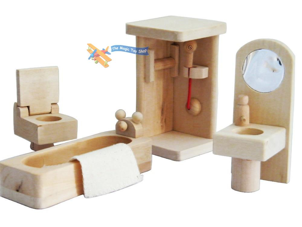 Childs Wooden Miniature Dolls House Furniture Set Role Play Toy Solid Wood Ebay