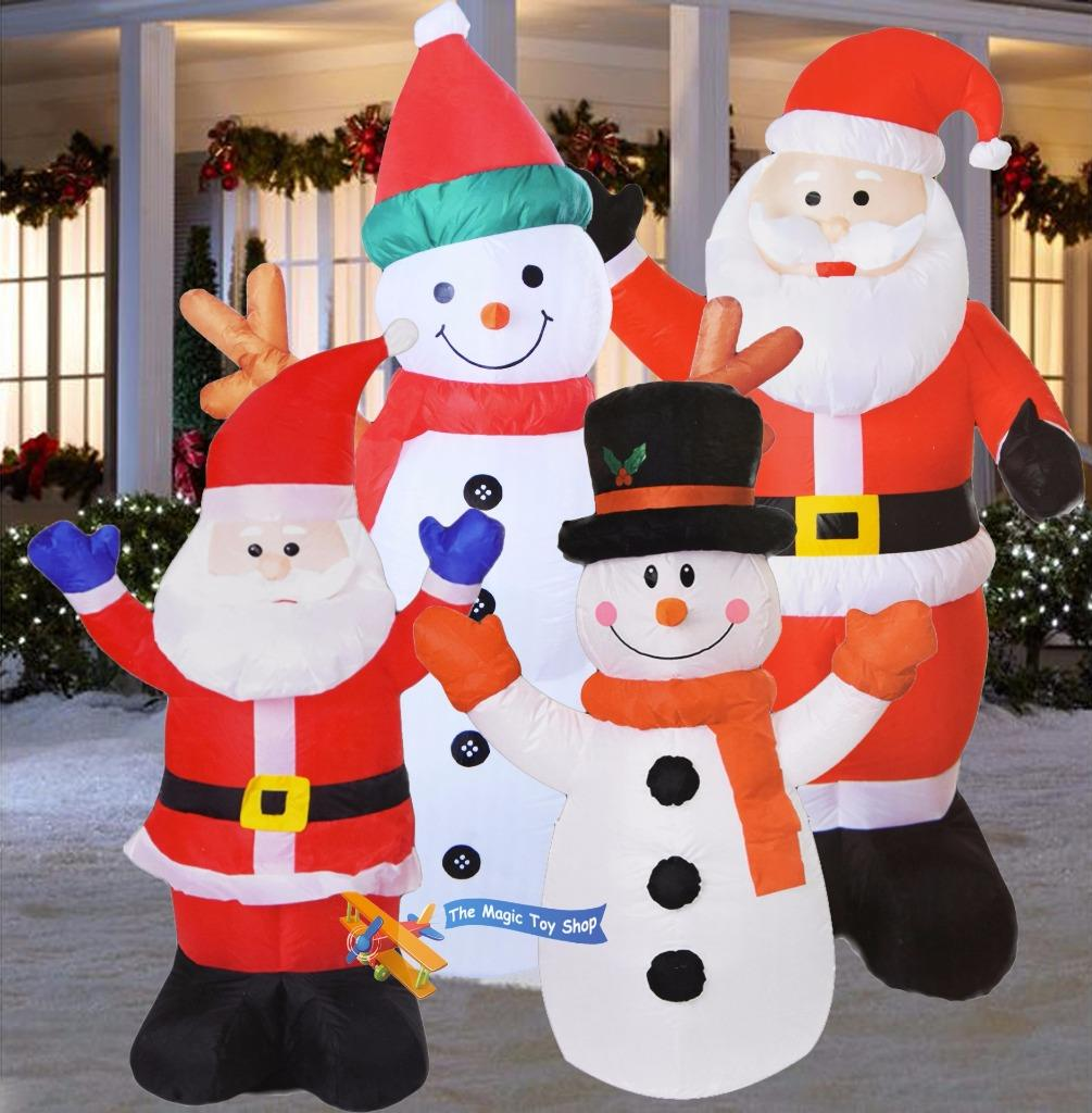 Large inflatable santa snowman outdoor airblown xmas for Pere noel decoration exterieur