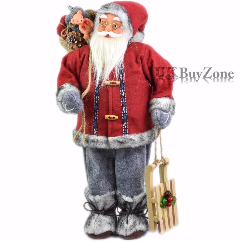 18 grand debout p re no l figurine arbre de no l d coration ebay - Grand pere noel decoration ...