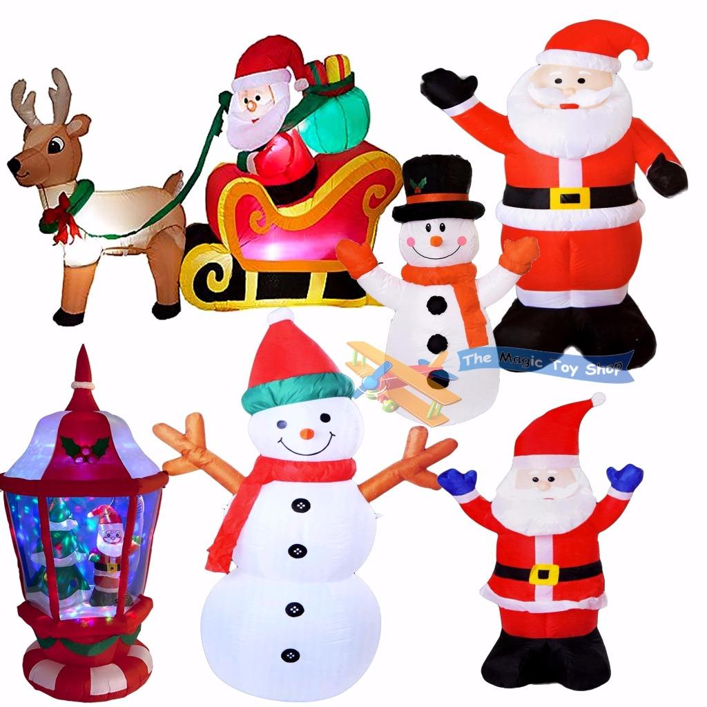 Large inflatable santa snowman outdoor airblown xmas for Outdoor christmas figures