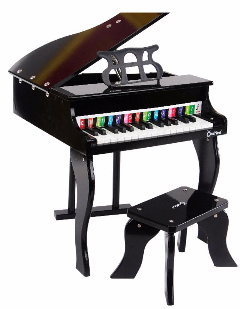 Childs Black Wooden Grand Piano Keybpard Toy Musical