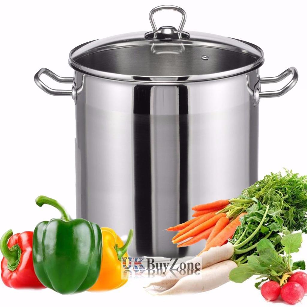 Large Deep Stainless Steel Cooking Stock Pot Casserole