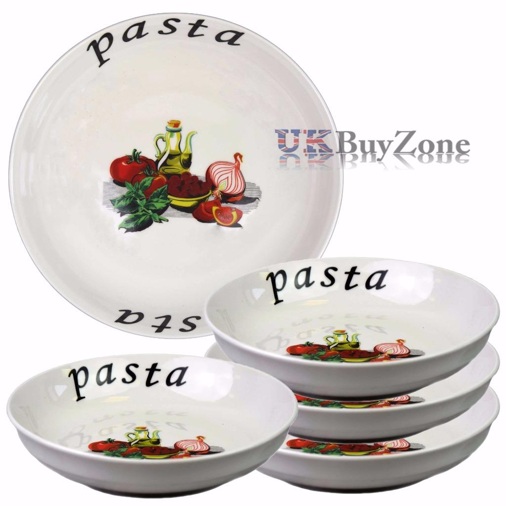Large 5 Piece Pasta Bowls Plates Dinner Set Spaghetti