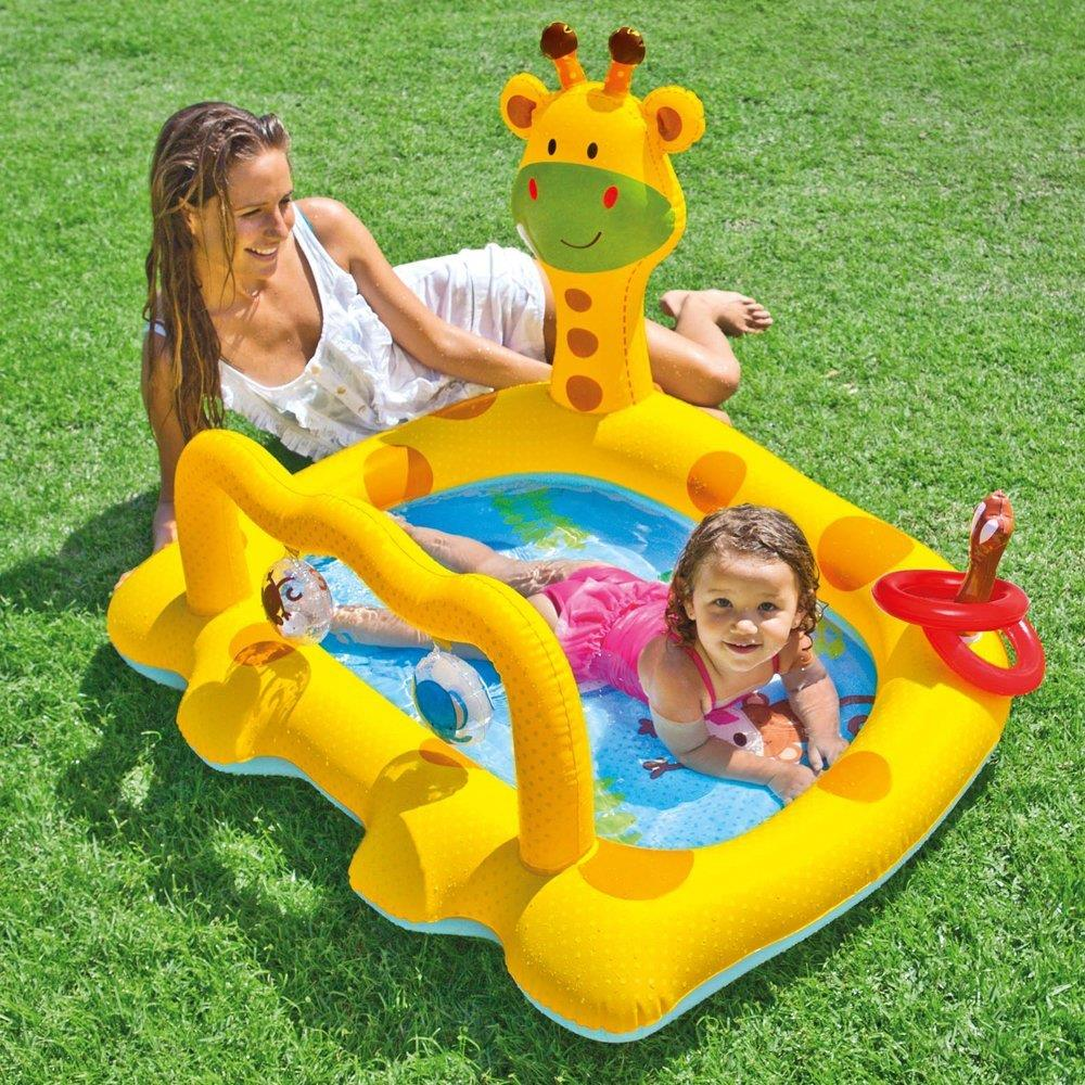 Intex inflatable family outdoor swimming paddling pool for Piscine enfant gifi