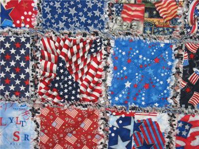 新爱国美国破布被子把手工制作的红色白色蓝色旗帜