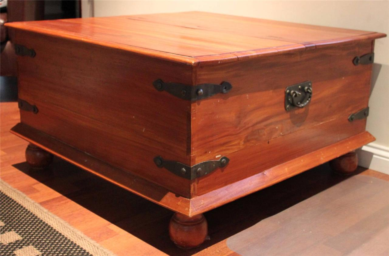 Large Rustic Wooden Wrought Iron Coffee Table Storage Chest Box Must See Ebay