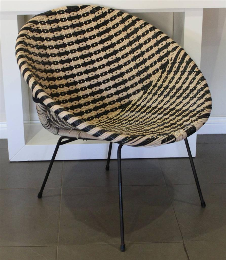 Details about vintage retro 50 s coolie wicker saucer chair