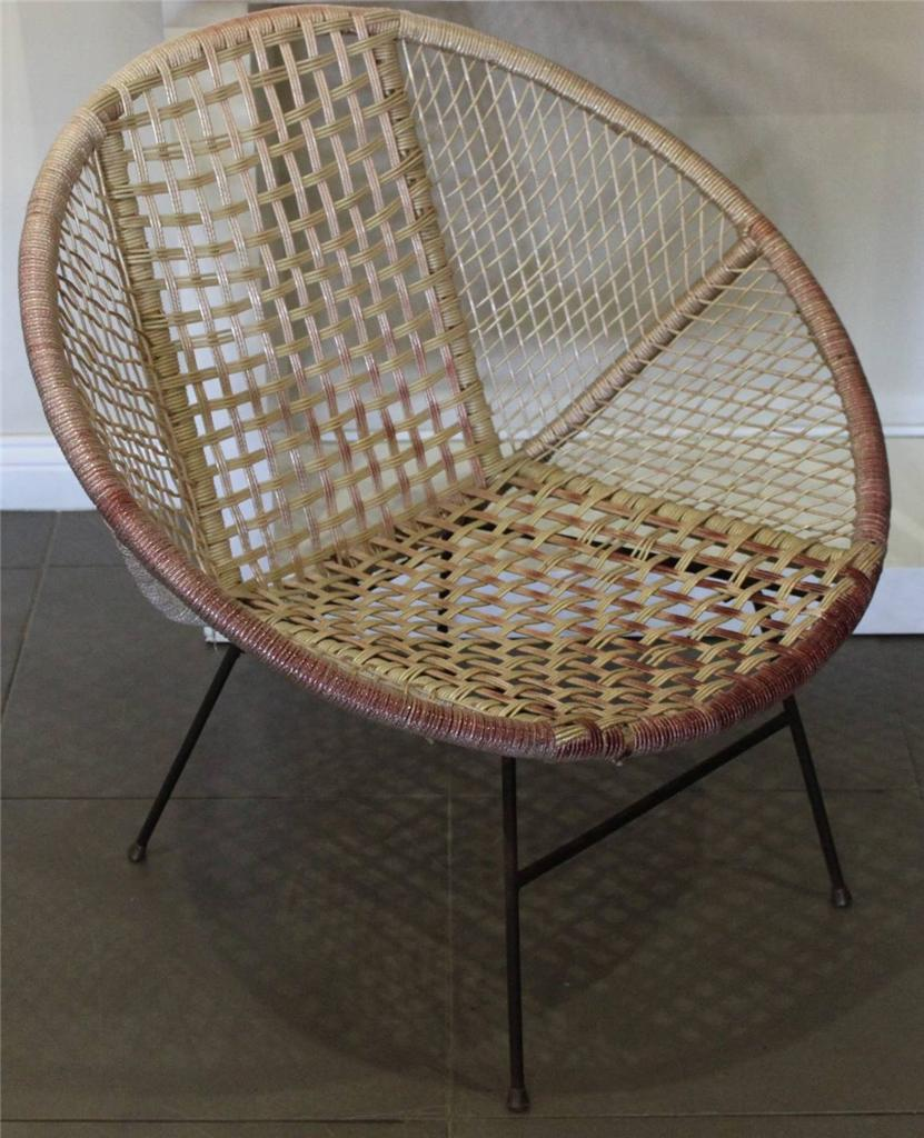 vintage retro 50s coolie wicker saucer chair ebay