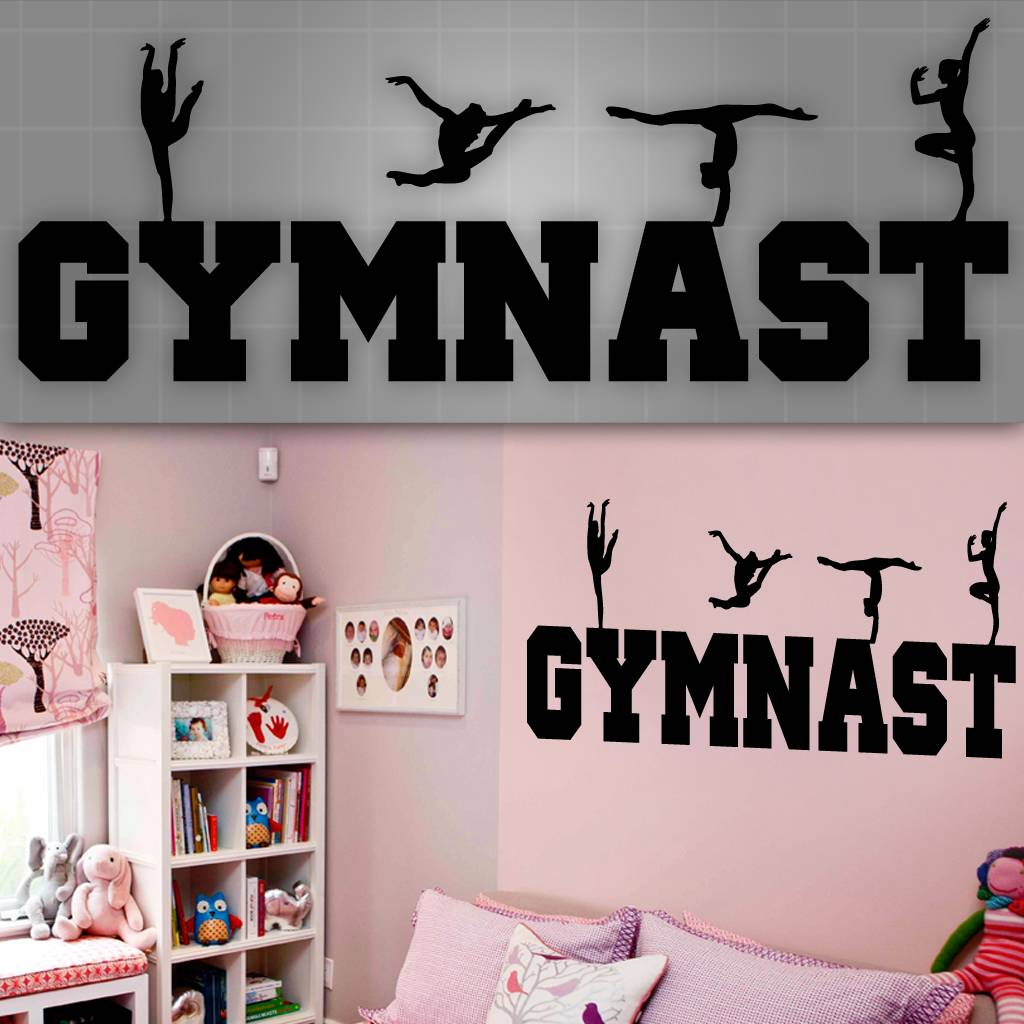 Gymnast wall decal girls gymnast wall sticker girls room for Girls room wall decor
