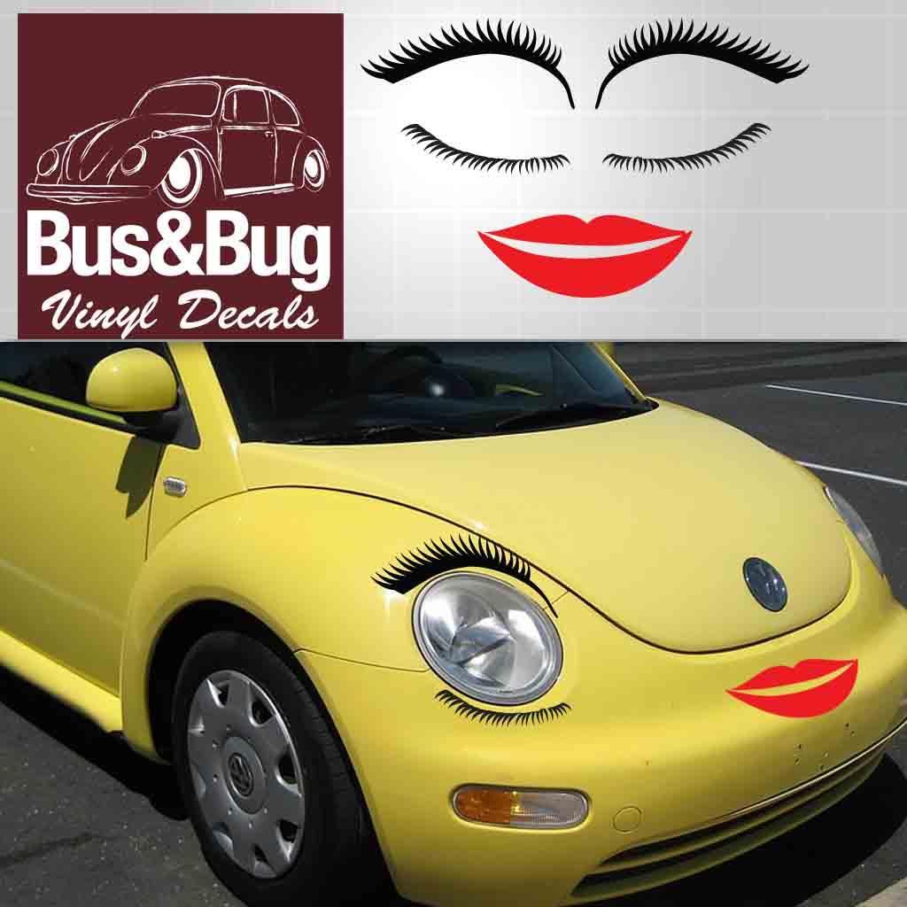 volkswagen eyelashes vw bug lashes  lips beetle vw eyelashes lips decals ebay