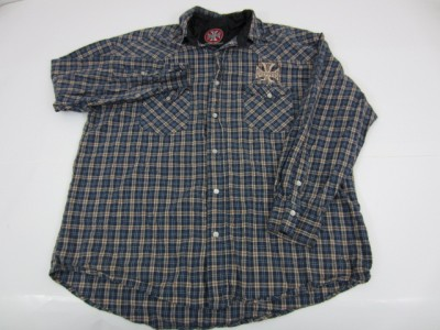 JAMES WEST COAST CHOPPERS Plaid Cotton Pearl Snap Shirt Large L