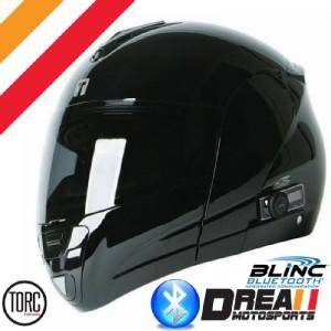 TORC T22B BLINC BLUETOOTH MODULAR FLIP UP MOTORCYCLE HELMET DOT BLACK
