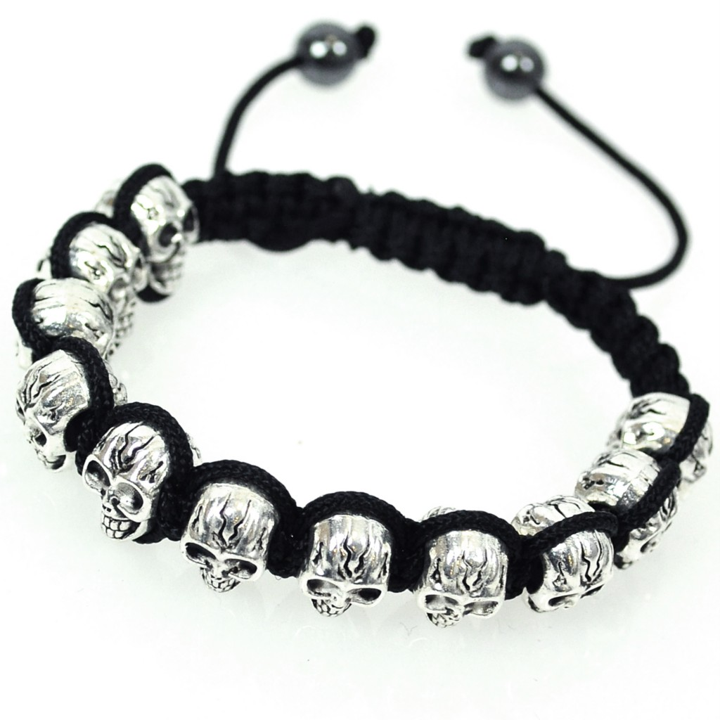 UK-SELLER-SHAMBALLA-BRACELET-CRYSTAL-DISCO-BALL-SKULL-PUNK-VINTAGE-3-CRYSTALS
