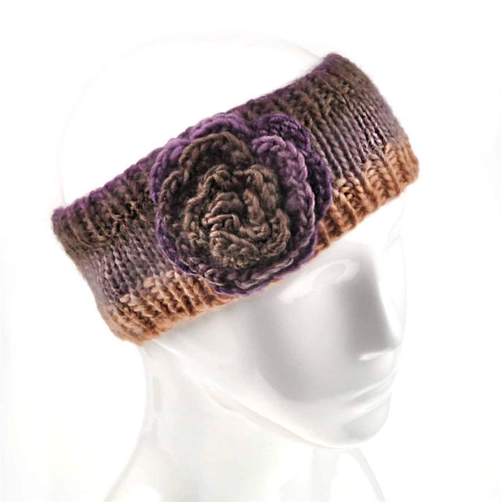 Ladies Winter Flower Warm Knit Headband Hairband Ear ...