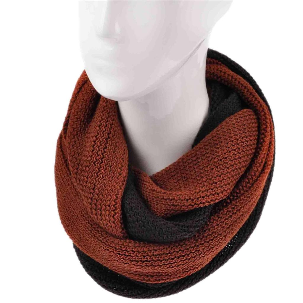 Ladies Fashion Knitted Snood Warm Winter Two Tone Cowl Knit Infinity Scarf Wrap Ebay