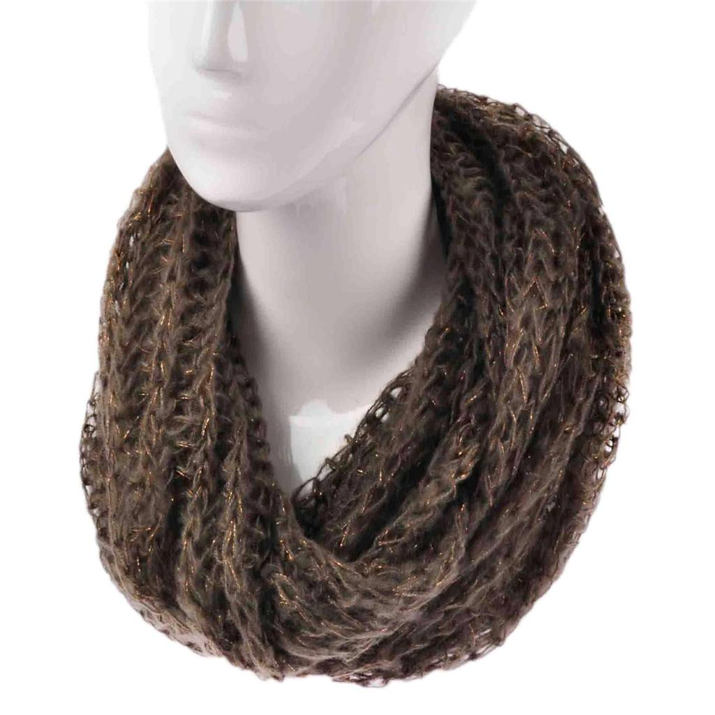 Ladies Fashion Knitted Snood Warm Winter Two Tone Cowl