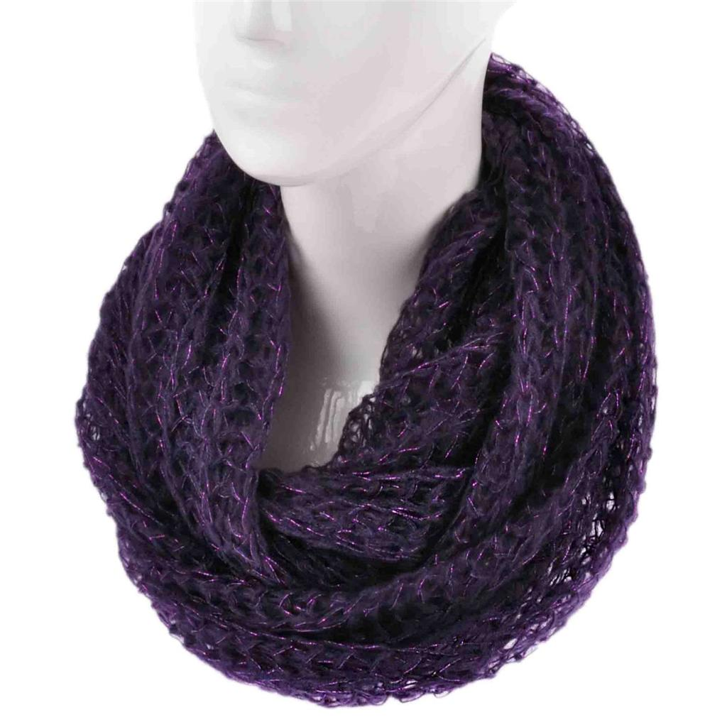 Ladies Fashion Knitted Snood Warm Winter Two Tone Cowl Knit Infinity Scarf Wrap