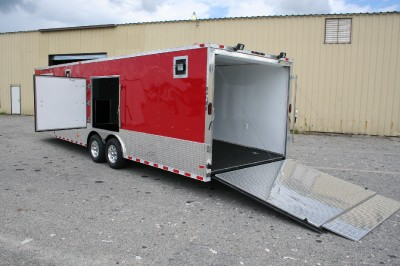 Auto Racing Trailers on 5x28 Red Enclosed Cargo Auto Hauler Race Car Trailer 5200 Generator