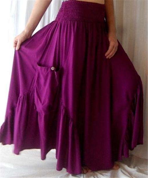 @Q455  SKIRT DRESS RUFFLED POCKET GORGEOUS SWEEPING LOTUSTRADERS MADE TO ORDER