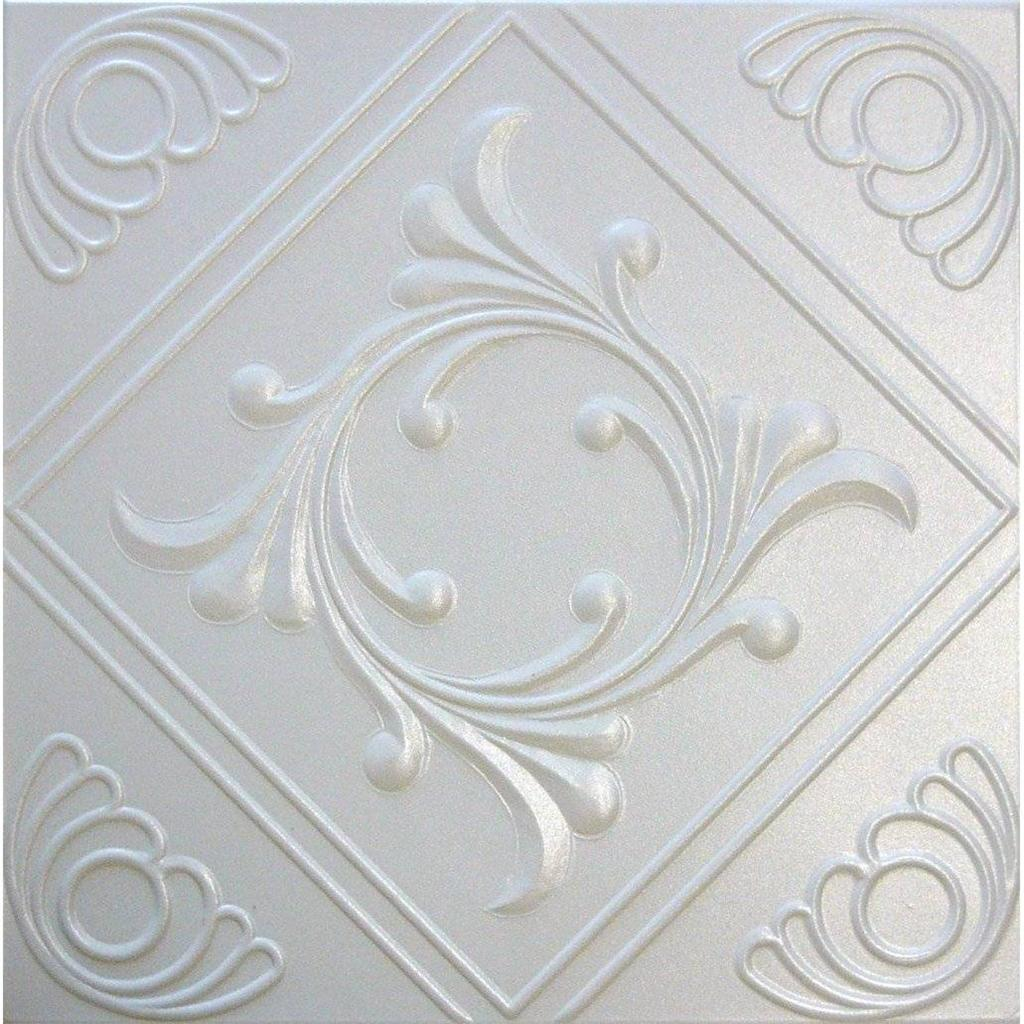 R2W White Decorative Styrofoam Glue Up Ceiling Tiles 20x20