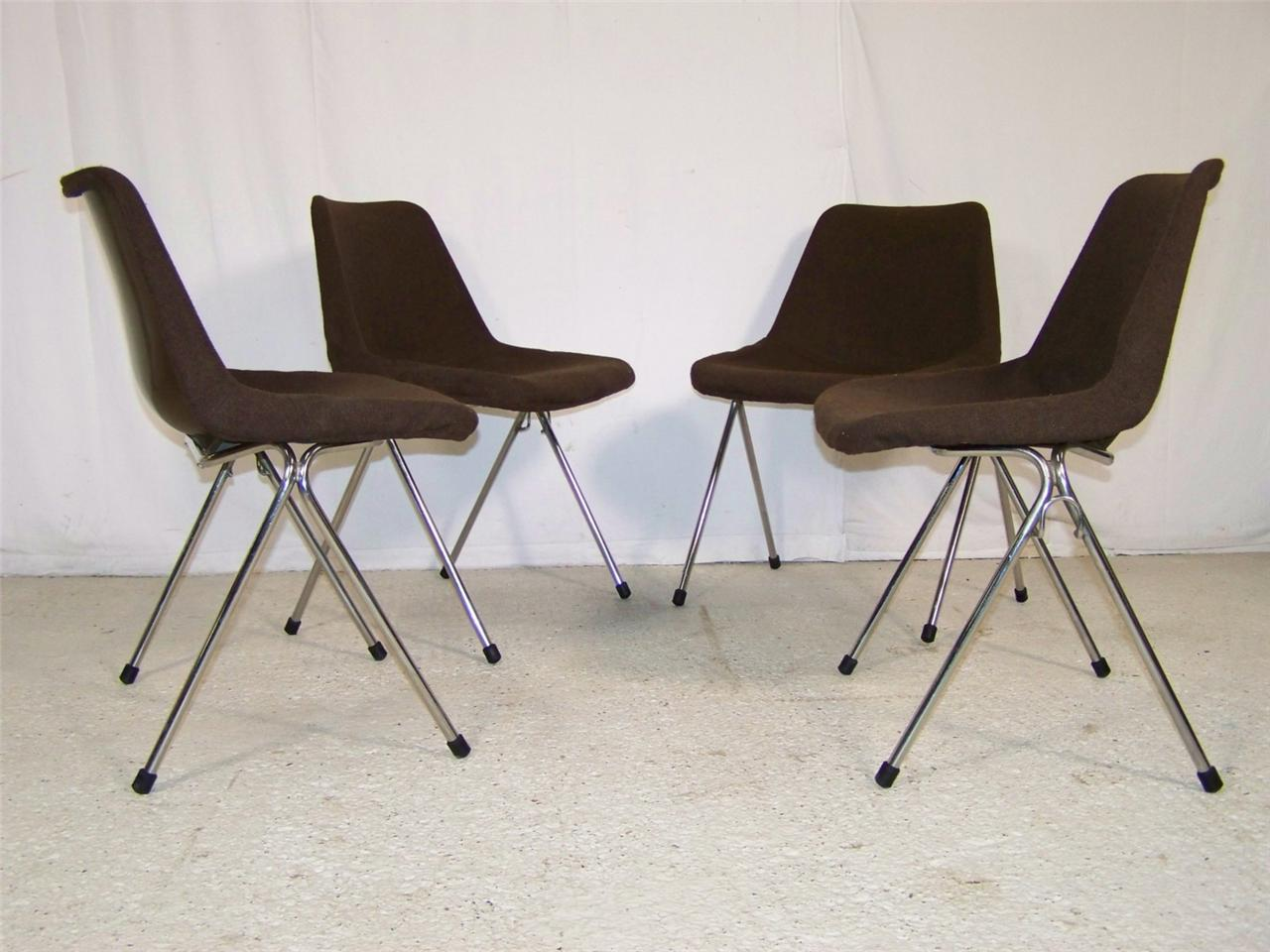 4 x vintage retro stacking kitchen dining robin day hille for Retro 80s furniture