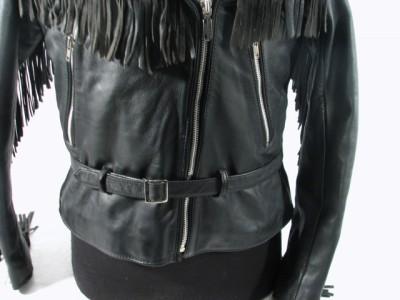 Vintage Harley Davidson Black Leather Jacket w/Fringe 42W American