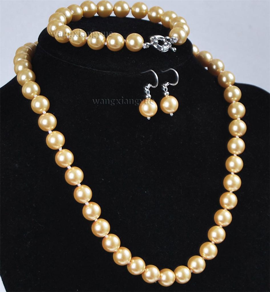 12mm golden south sea shell pearl necklace bracelet earrings set aaa grade