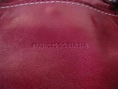 FRANCESCO BIASIA Red Leather Hand Bag Purse Evening Bag.