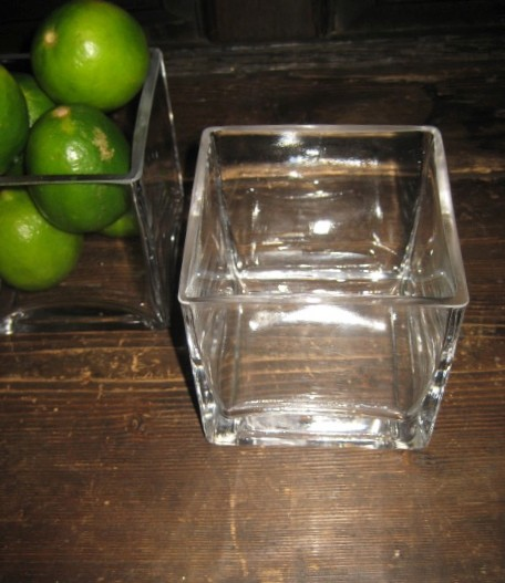 Clear glass quot square cube vase centerpiece wedding