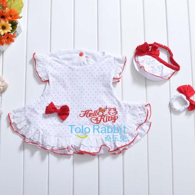New-baby-girls-3-Pcs-kids-dress-hand-wear-Headband-Set-Clothes-Costume-H1232