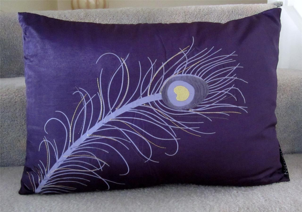 cushion insert peacock feather embroidered decorative. Black Bedroom Furniture Sets. Home Design Ideas