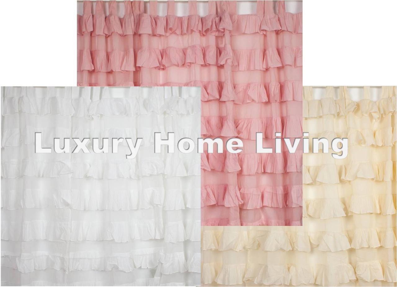 2 Tab Top Ruffle Curtain Eco Cotton Shabby Chic Decor Nursery White Pink Ivory Ebay