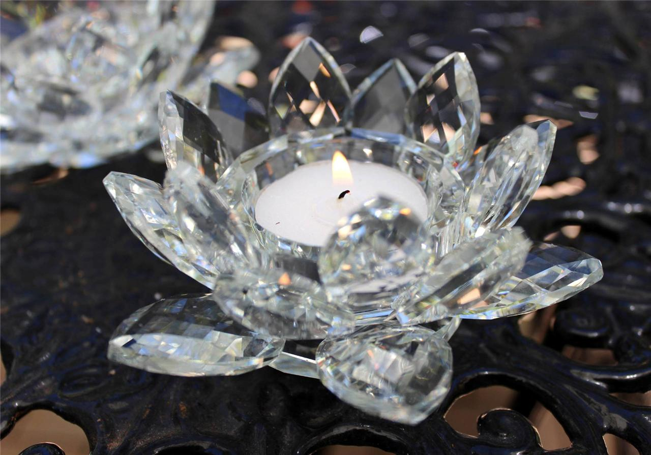 Crystal-Glass-Tea-Light-Holder-Lotus-Flower-Candle-Votive-Wedding-Gift-Decor