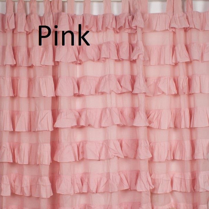 2 Tab Top Ruffle Curtain Cotton Shabby Chic Decor Nursery White Pink Ivory Blue Ebay
