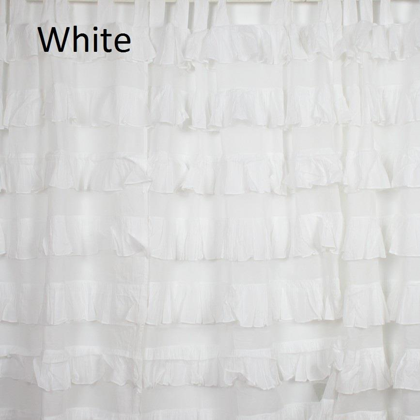 2 Tab Top Ruffle Curtain Cotton Shabby Chic Decor Nursery White Pink Ivory Blue