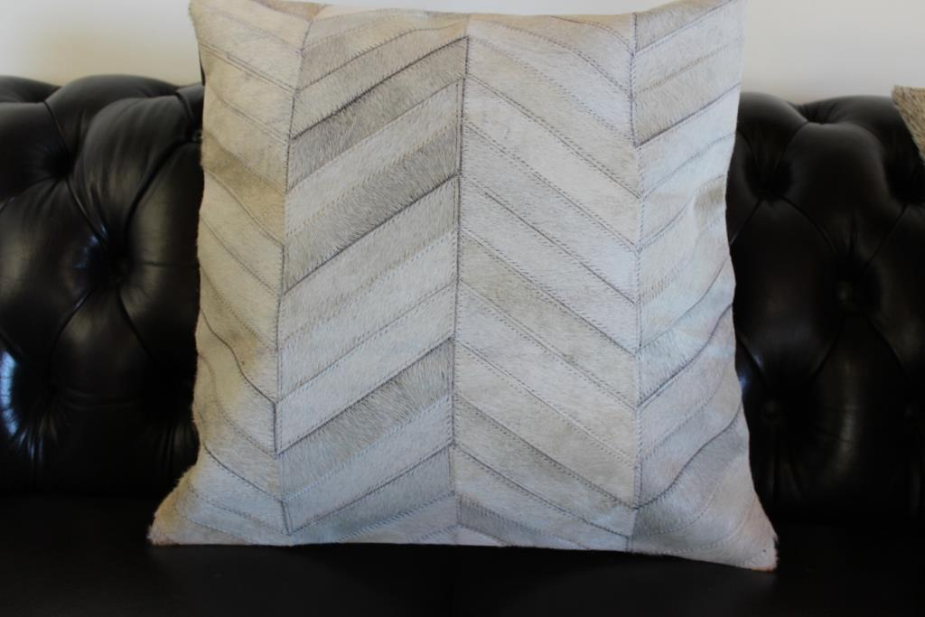 Leather Hide Cushion Cover: Geometric Leather Throw Natural Grey Lattice, Chevro eBay