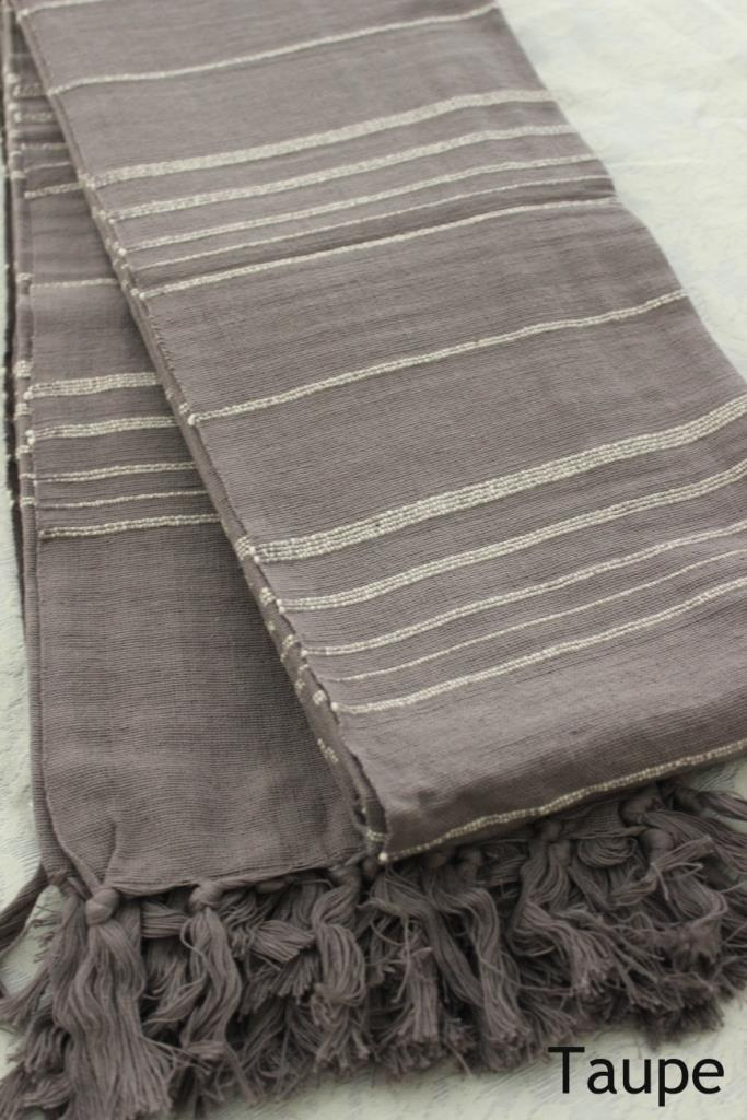 Large Cotton Throw Bed Cover Blue Brown Or Beige Stripe
