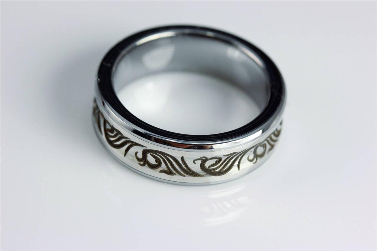 mens solid tungsten carbide silver vintage wedding ring